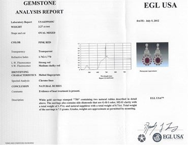 thumbnail image of EGL Certified 18K Gold 3.27ctw Ruby Sapphire 1.57ct Diamond Earrings