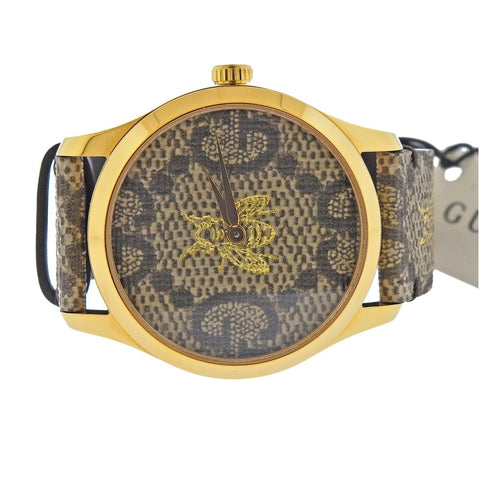 image of New Gucci G-Timeless Gold Tone Bee GG Logo Watch YA1264068