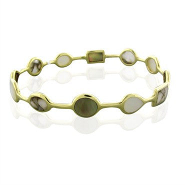 image of New Ippolita 18K Gold Rock Candy Open Gelato Creme Brulee Bracelet