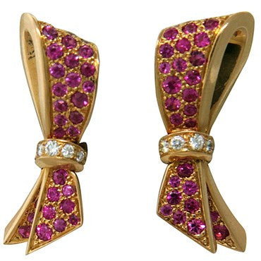 image of Van Cleef & Arpels Pink Sapphire Diamond 18K Gold Bow Earrings