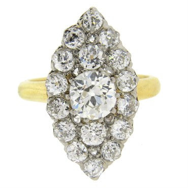 image of Antique Victorian 3.00ctw Diamond Navette Gold Cocktail Ring