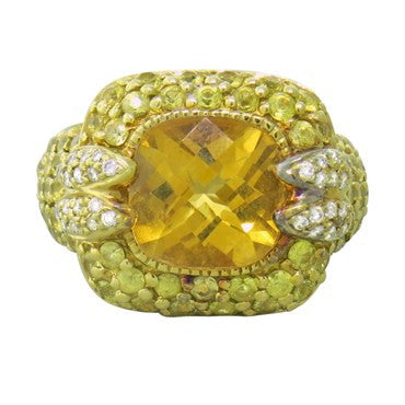 thumbnail image of Sonia B 18k Gold Diamond Yellow Sapphire Citrine Ring