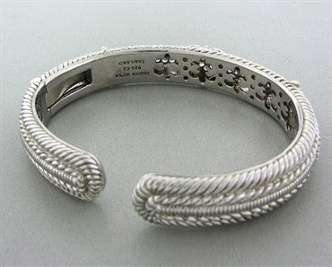 thumbnail image of Judith Ripka Diamonique Sterling Silver CZ Heart Cuff Bracelet
