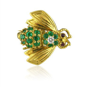 image of Tiffany & Co Bumble Bee 18K Gold Emerald Ruby Diamond Brooch Pin