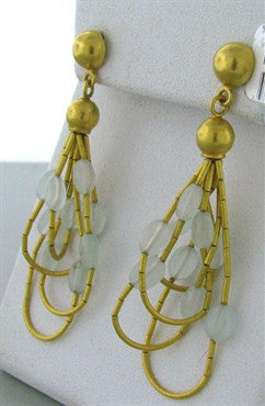 thumbnail image of New Gurhan 24K Gold Milky Aquamarine Drop Earrings