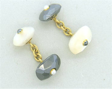 thumbnail image of Trianon Mother of Pearl Hematite Pearl 18k Gold Cufflinks