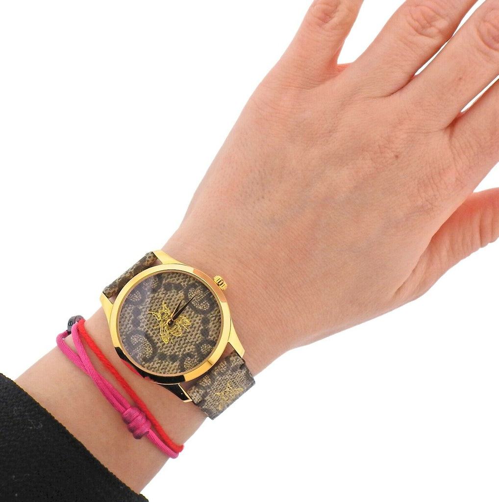 thumbnail image of New Gucci G-Timeless Gold Tone Bee GG Logo Watch YA1264068