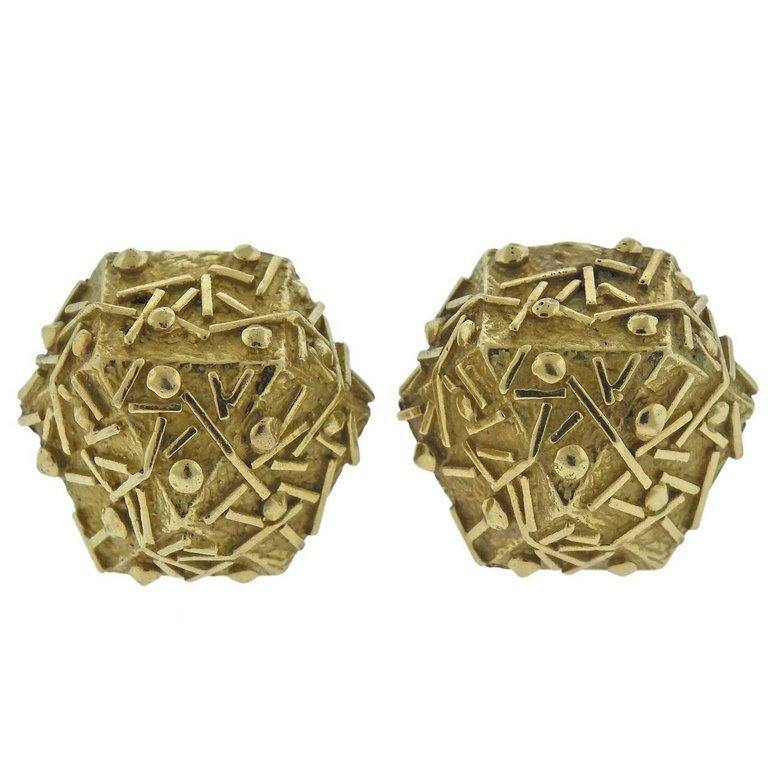 thumbnail image of 1970s Tiffany & Co. Gold Geometric Earrings