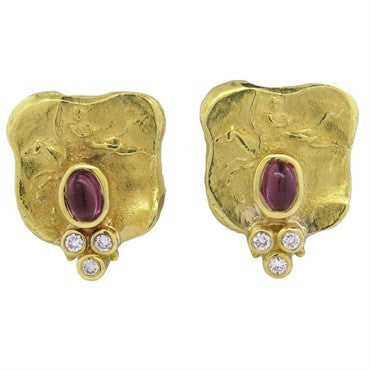 image of SeidenGang Athena 18k Gold Diamond Pink Tourmaline Earrings