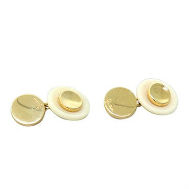 thumbnail image of New Pomellato 18k Gold White Stone Cufflinks