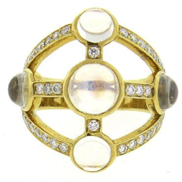 image of Temple St. Clair Diamond Moonstone 18k Gold Ring