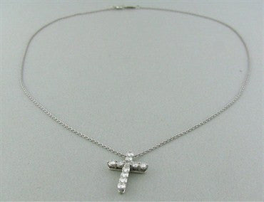 image of Tiffany & Co Platinum Diamond Cross Pendant Necklace