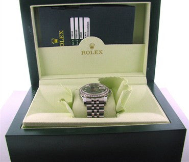 thumbnail image of Rolex Datejust Factory Diamond Dial Bezel Watch Box Papers Ref 116244