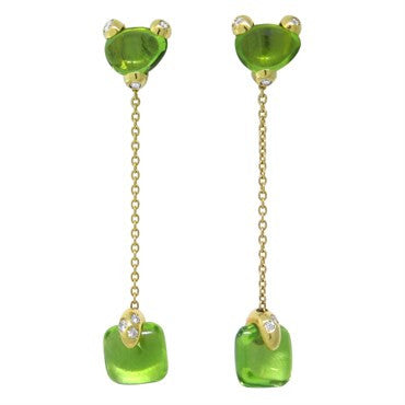 image of New Pomellato Sassi 18k Gold Peridot Diamond Drop Earrings