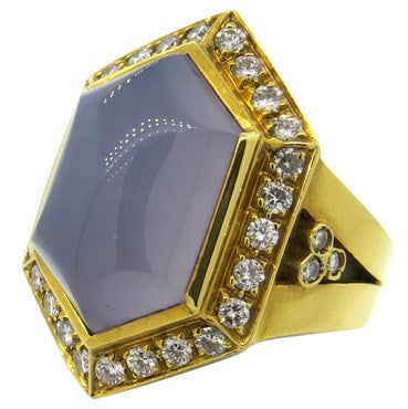 thumbnail image of Fine Chalcedony Diamond 18k Gold Cocktail Ring