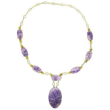 thumbnail image of Art Nouveau Carved Amethyst Gold Necklace
