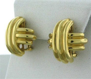 thumbnail image of Estate Tiffany & Co 18K Yellow Gold Signature Earrings