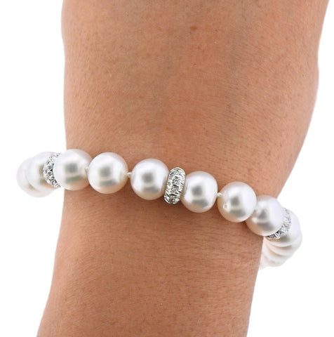image of Assael South Sea Pearl Diamond Gold Bracelet