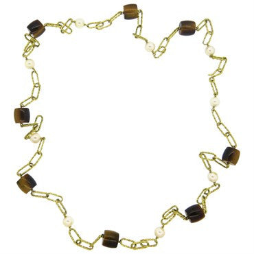 image of 1970s Tiger's Eye Pearl 18k Gold Link Chain Necklace