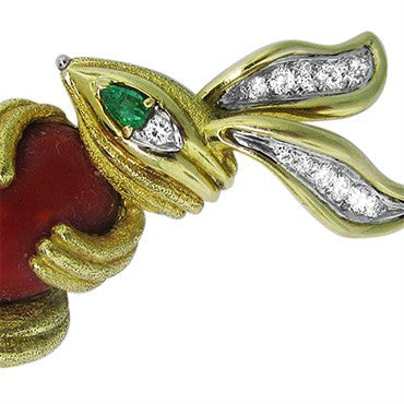 thumbnail image of 18K Gold Diamond Ruby Emerald Coral Rabbit Brooch Pin