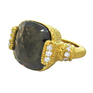 thumbnail image of Judith Ripka 18K Yellow Gold Smokey Quartz Diamond Ring