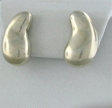 image of Tiffany & Co Elsa Peretti Sterling Silver Large Teardrop Earrings
