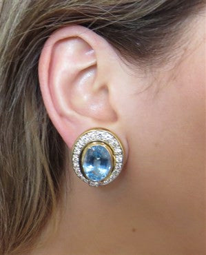 thumbnail image of Impressive Blue Topaz Diamond Gold Earrings