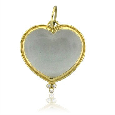 image of Estate Temple St. Clair 18K Yellow Gold Diamond Crystal Heart Pendant