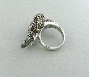 thumbnail image of Estate 14K White Gold 3.01ctw Fancy Diamond Sapphire Elephant Ring