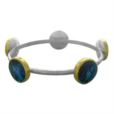 image of New Gurhan Sterling Silver 24K Gold Paua Shell Surf Bangle Bracelet