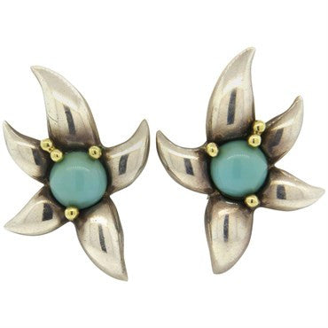 image of 1990s Tiffany & Co. Large Turquoise Sterling 18k Gold Earrings