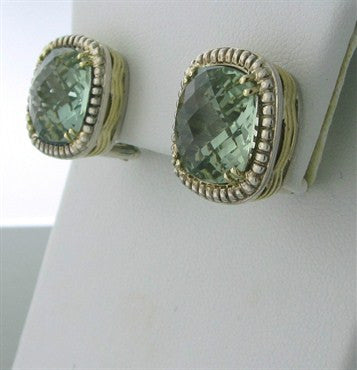 thumbnail image of Charles Krypell 14K Gold Sterling Silver Green Gemstone Earrings