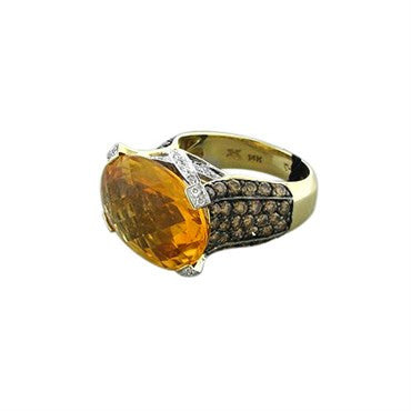 image of New Levian 14K Yellow Gold 1.83ctw Diamond 10ct Citrine Ring