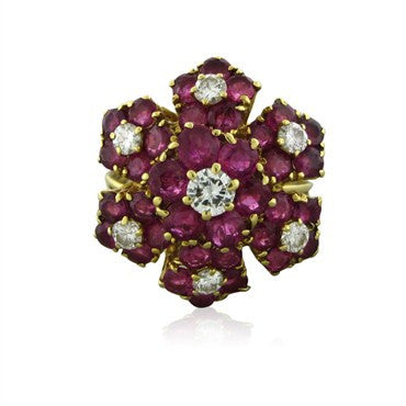 image of Vintage Tiffany & Co 18k Yellow Gold Ruby Diamond Ring