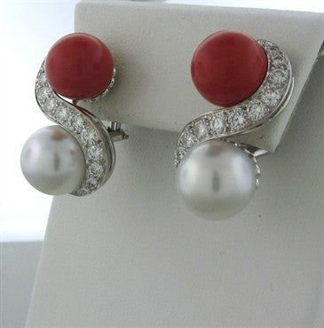 image of Estate Seaman Schepps 18K White Gold Diamond Pearl Coral Earrings