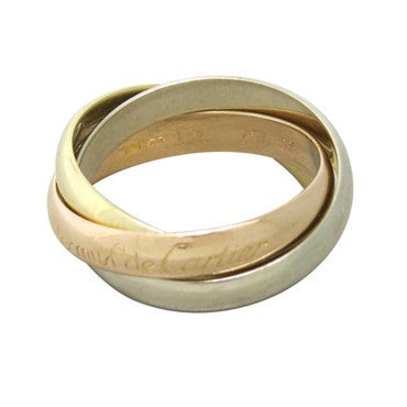 Cartier Trinity 18k Tri Color Gold Rolling Band Ring Size 53