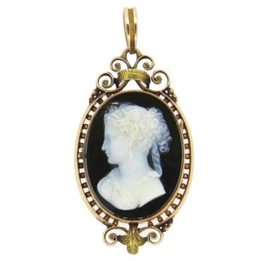 image of Antique Victorian 14k Gold Hardstone Cameo Pendant