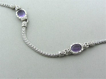 thumbnail image of Jahn Hardy Batu Mata Sterling Silver Oval Amethyst Sautoir Necklace