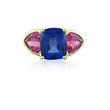 image of Certified 18K Yellow Gold 3.92ct Tanzanite 2.50ct Pink Tourmaline Ring