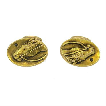 thumbnail image of Antique Diamond Gold Horse Cufflinks