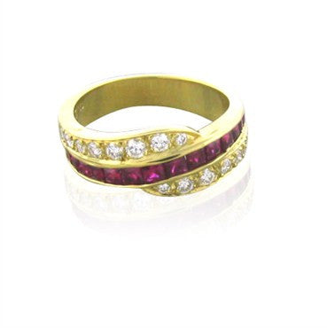 thumbnail image of New Gumuchian 18K Gold Diamond & Ruby Swirl Ring