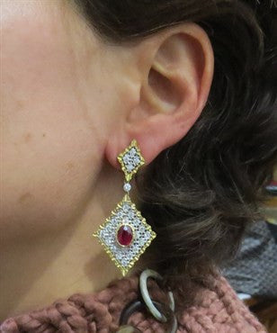 thumbnail image of Mario Buccellati Ruby Diamond Gold Earrings