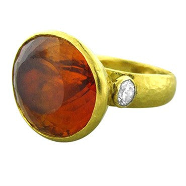 image of New Gurhan 24K Yellow Gold 39.22ct Citrine Diamond Ring