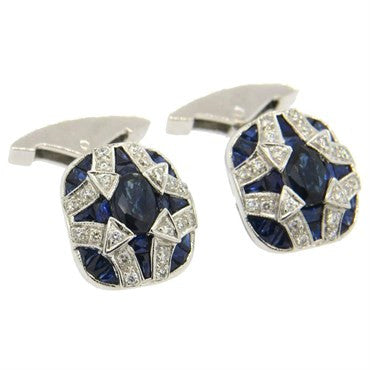 image of Sapphire Diamond 18k Gold Cufflinks