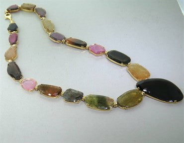 image of Tous Multicolor Gemstone Gold Necklace