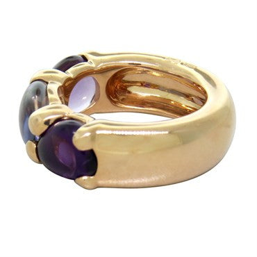 thumbnail image of New Pomellato Sassi 18k Gold Amethyst Iolite Ring