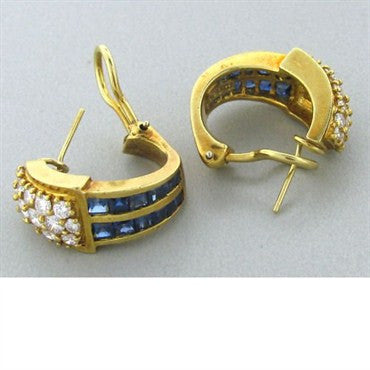 image of Hammerman Brothers 18k Gold Diamond Sapphire Earrings
