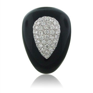 thumbnail image of Modern 18K White Gold Onyx 1.25ctw Diamond Cocktail Ring