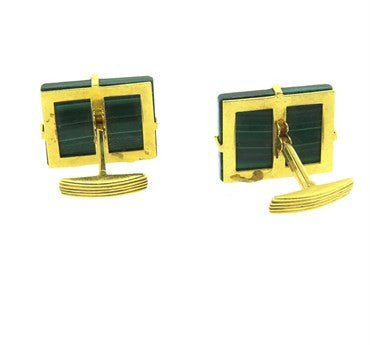 thumbnail image of Massive Modernist Malachite Gold Cufflinks