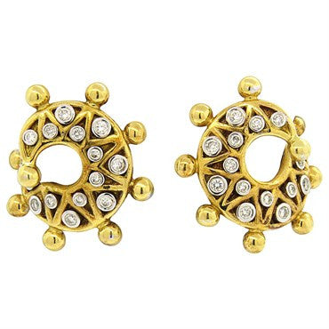 image of Vasari 18k Gold and Diamond Swirl Earrings
